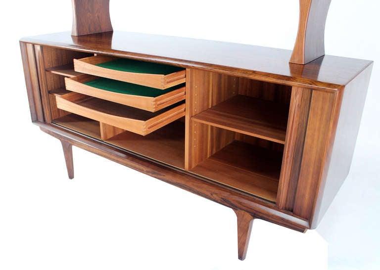 danish mid century modern rosewood hutch credenza cabinet 3