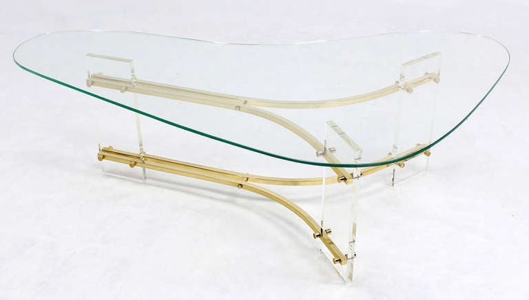 Mid Century Modern Kidney Shape Glass Top Coffee Table At 1stdibs