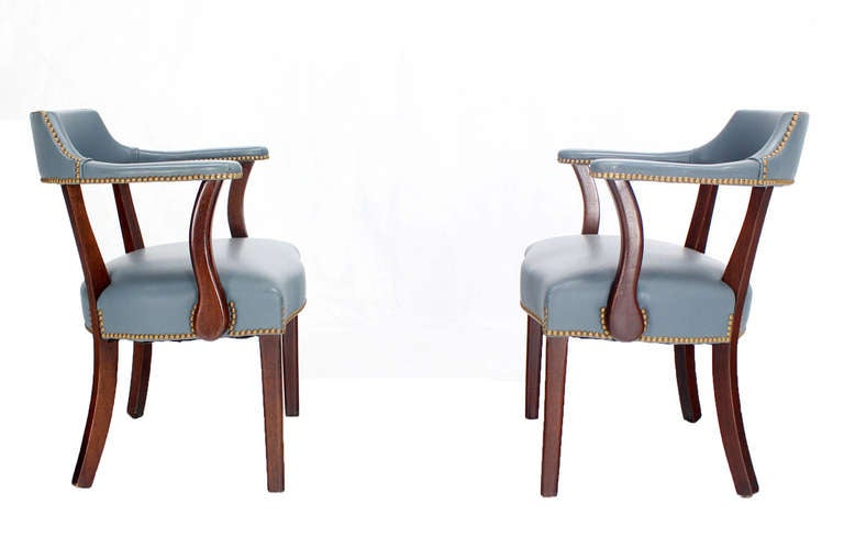 Pair of high quality leather upholstery bankers chairs at 1stdibs
