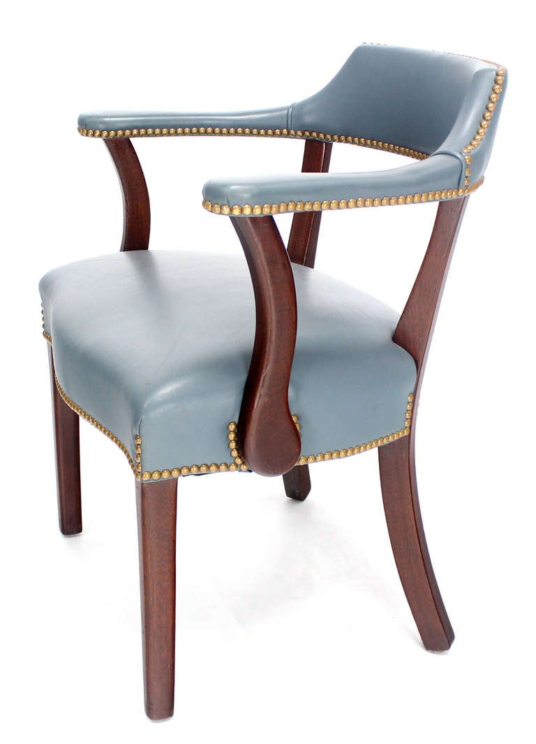 Pair Of High Quality Leather Upholstery Bankers Chairs At