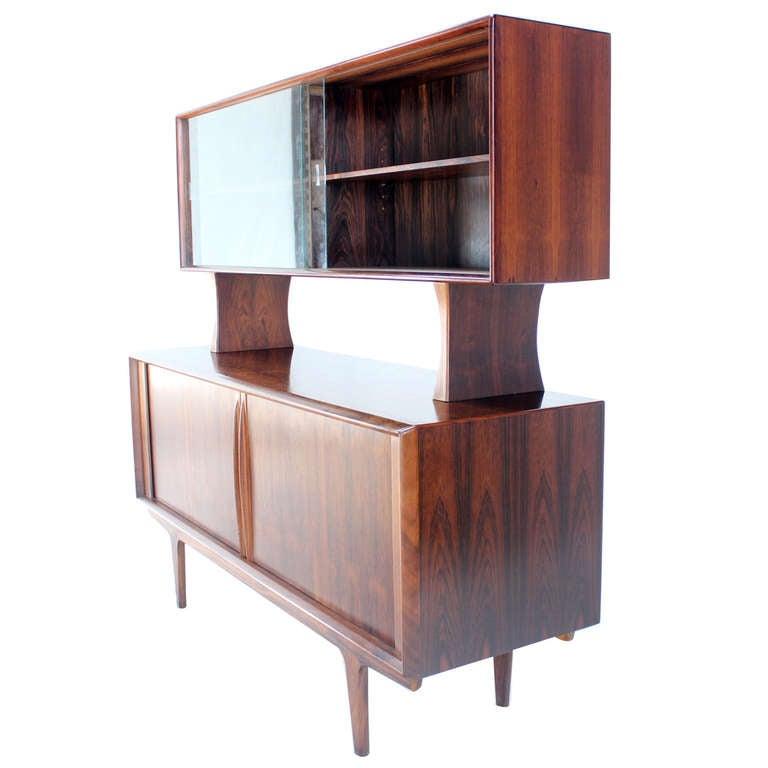 danish mid century modern rosewood hutch credenza cabinet 1