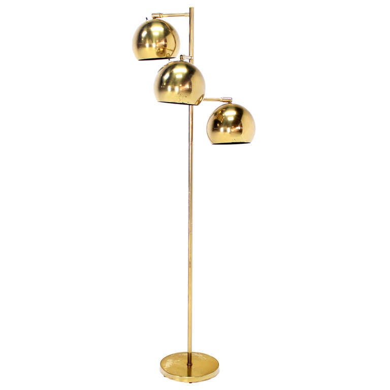 Brass Floor Lamp Mid Century: Mid Century Modern Brass Globe Shades Floor Lamp At 1stdibs