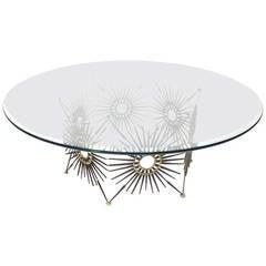 William Bowie Sunburst Sculpture Base Round Coffee Table