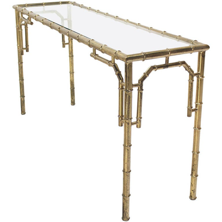 Faux Bamboo Metal And Glass Console Or Sofa Table For Sale