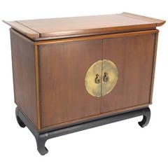 Oriental Modern Walnut Server Cabinet