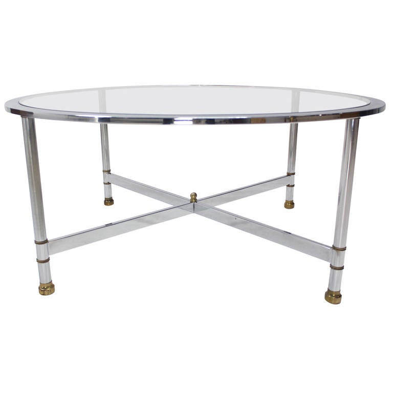 Brass Display Coffee Table: Chrome Brass And Glass Round Coffee Table By Jansen For