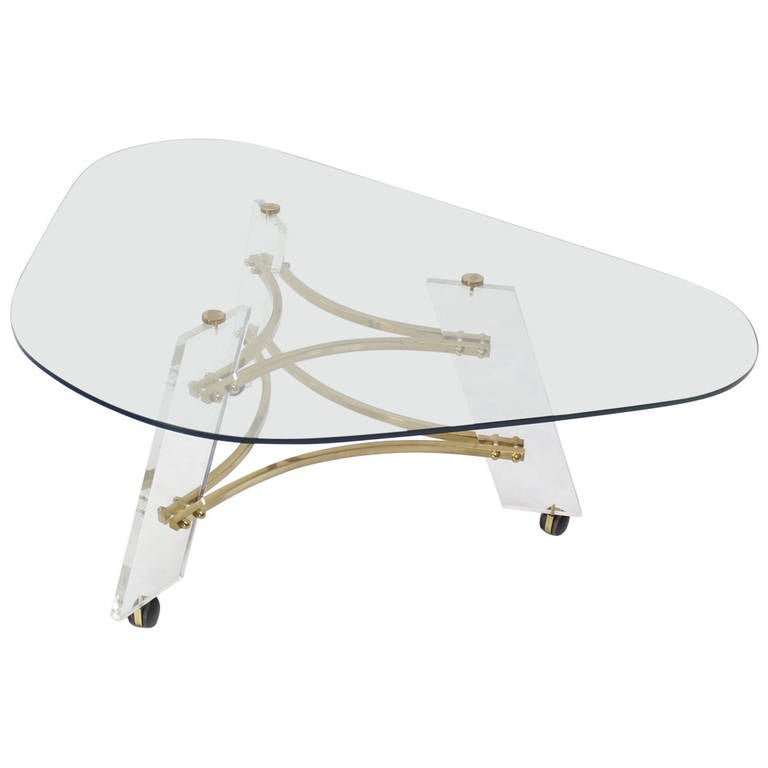 Midcentury Modern Kidney Shape Brass and Lucite Base Coffee Table For Sale