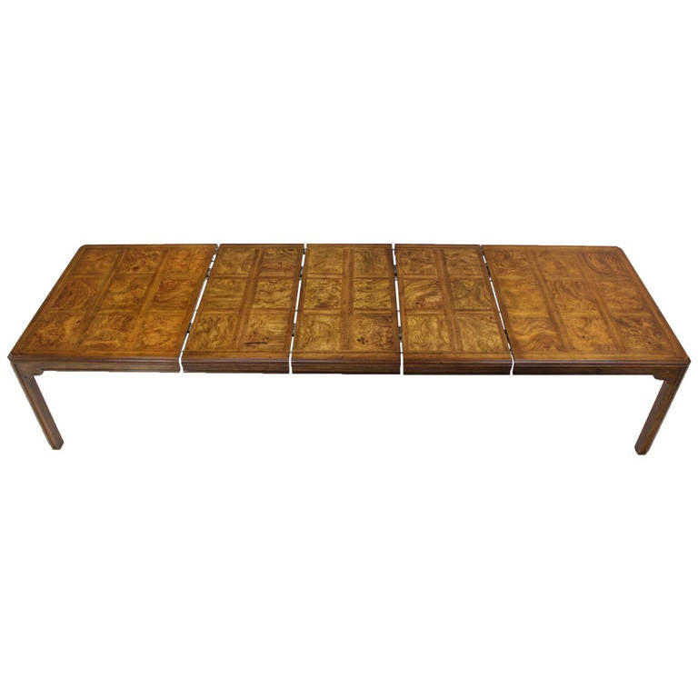 Long Drexel Modern Burl Wood Dining Banquet Table With Three Leaves At