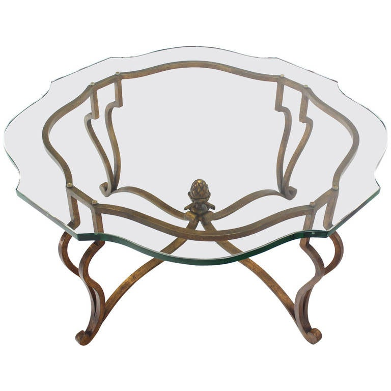 Glass Top Coffee Table With Iron Base: Gold Gilded Wrought Iron Base, Glass-Top Hollywood Regency