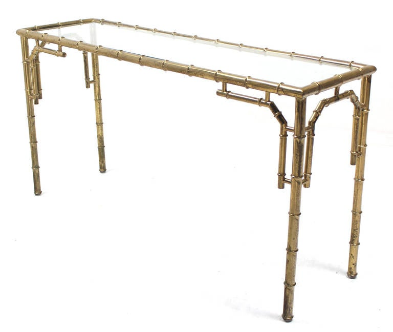 Faux bamboo metal and glass console or sofa table for sale for Metal and glass console tables