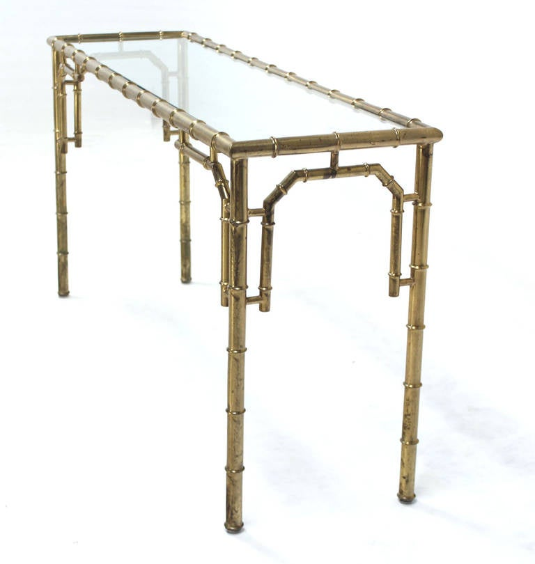 Faux Bamboo Metal And Glass Console Or Sofa Table At 1stdibs