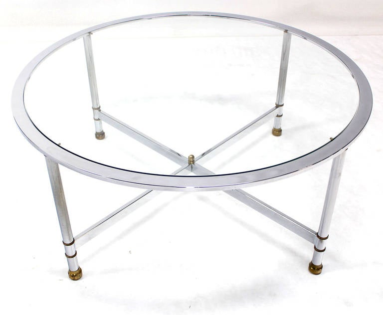 Chrome brass and glass round coffee table by jansen for for Round glass coffee tables for sale