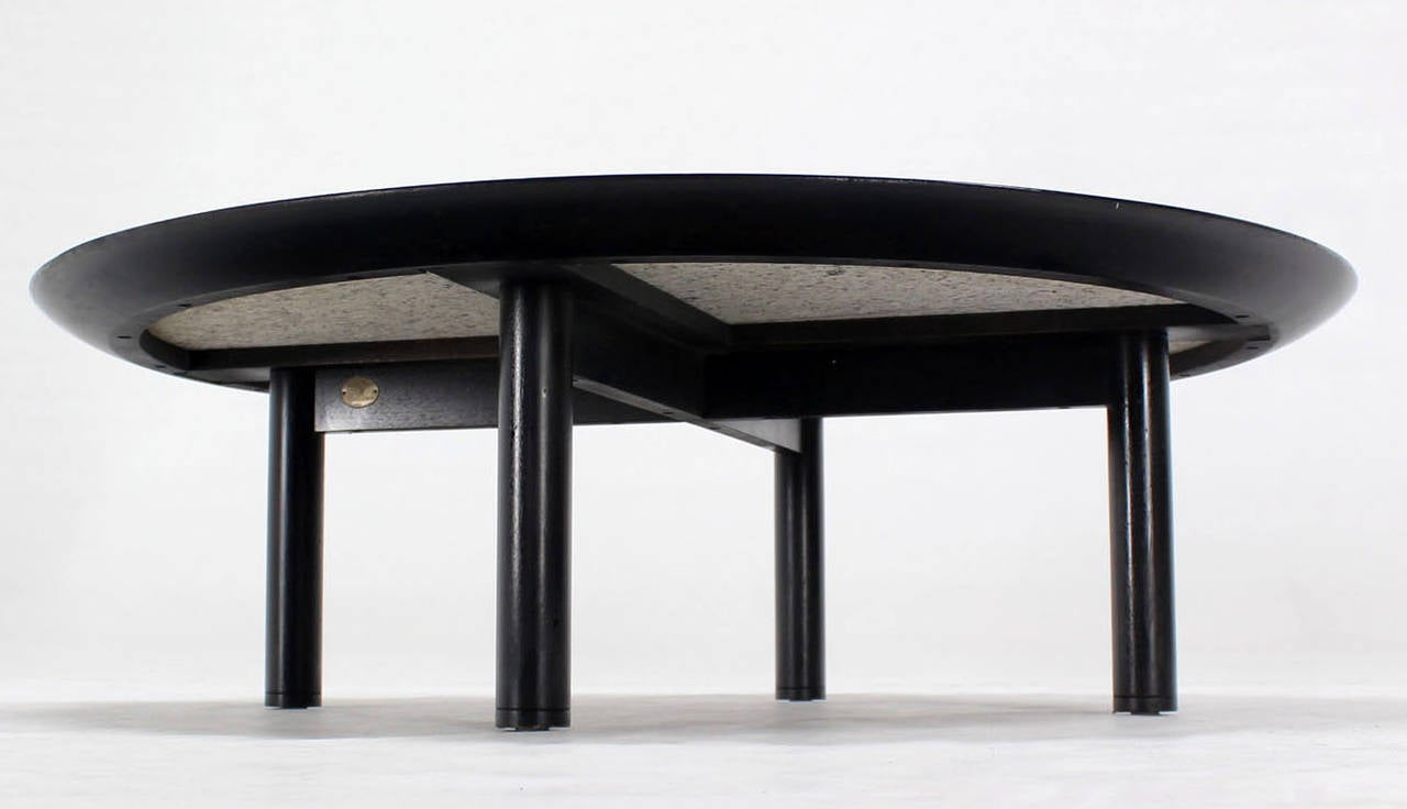 48 inches round mid century modern coffee table by baker for Round contemporary coffee table