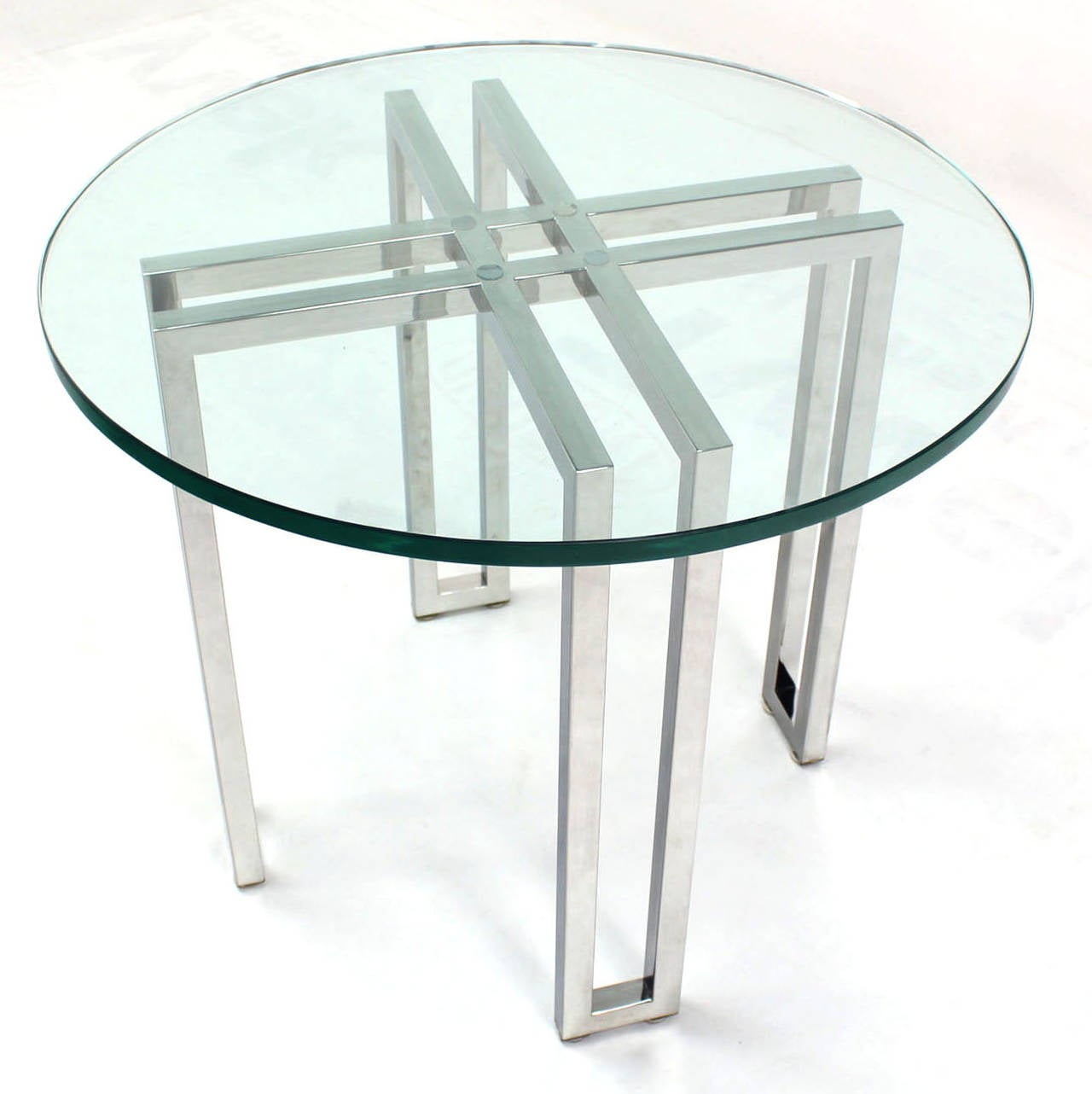 Mid Century Modern Round Side Table : Mid-Century Modern Round Chrome Base and Glass-Top Side Table For Sale ...