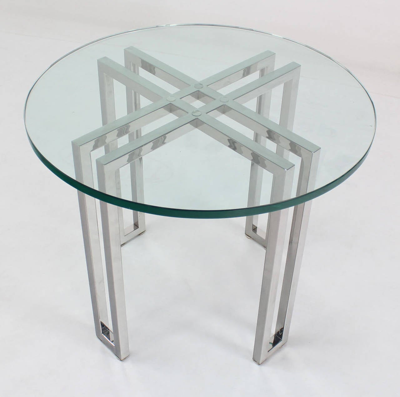 Mid Century Modern Round Chrome Base And Glass Top Side Table 2