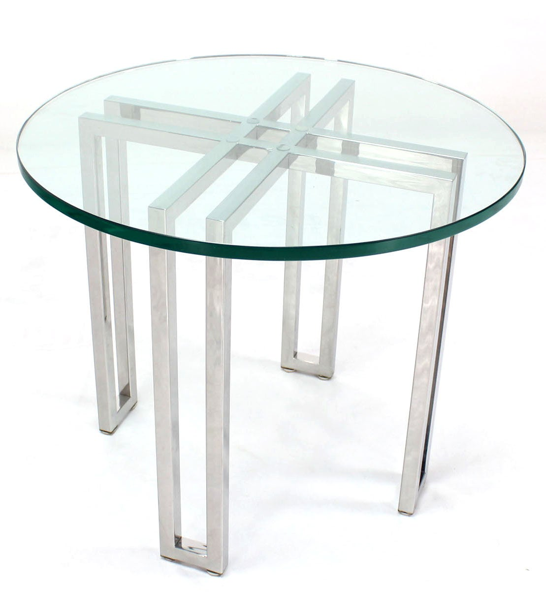 Mid century modern round chrome base and glass top side for Side table base