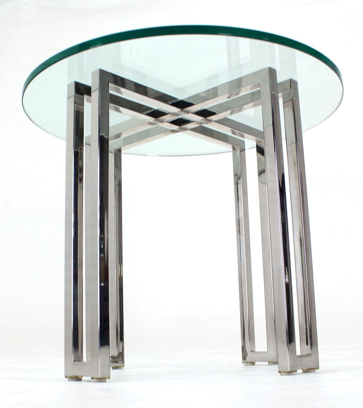 Mid Century Modern Round Chrome Base And Glass Top Side Table 3