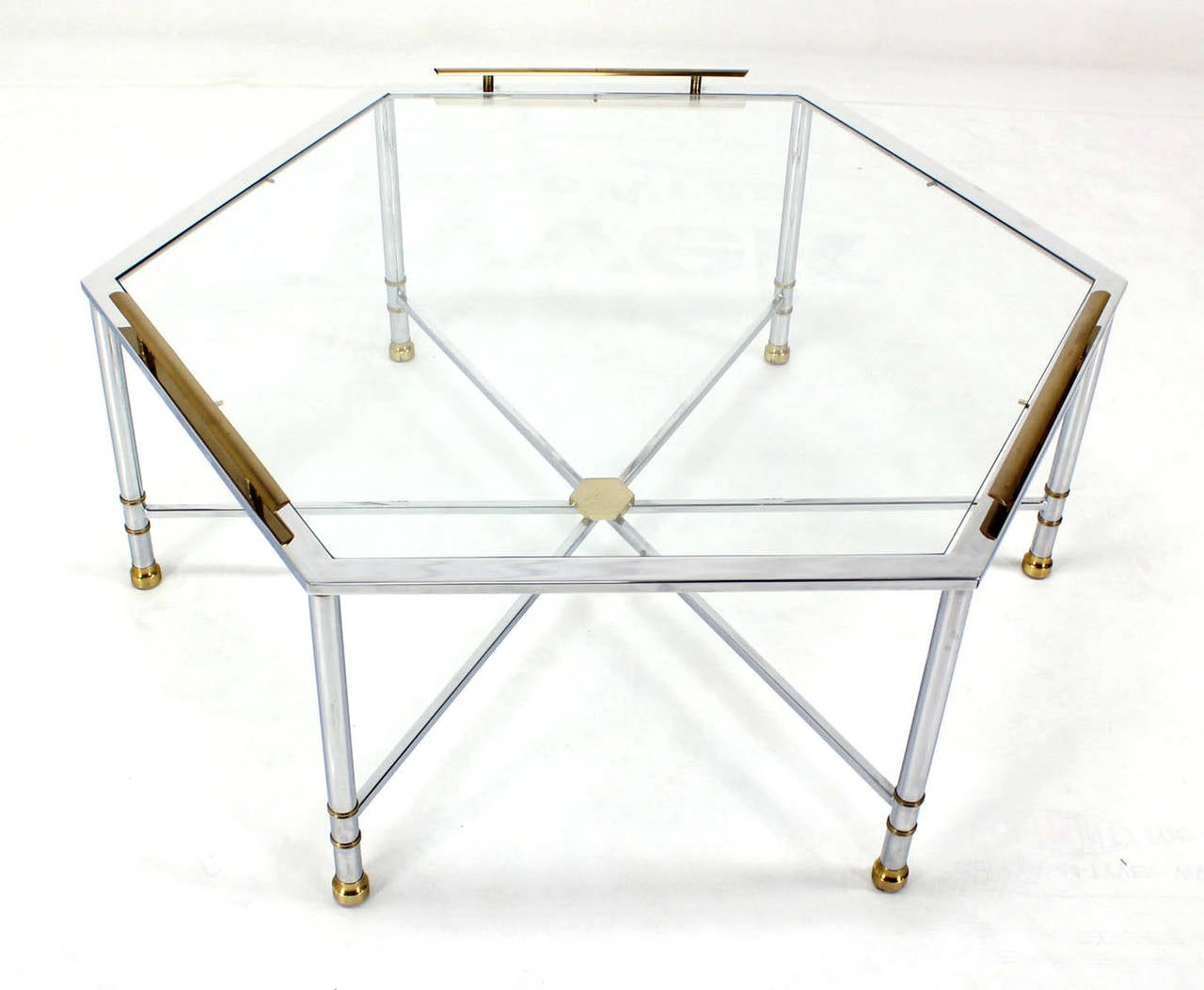 Chrome brass glass hexagon coffee table maison jansen for sale at chrome brass glass hexagon coffee table maison jansen 2 geotapseo Images