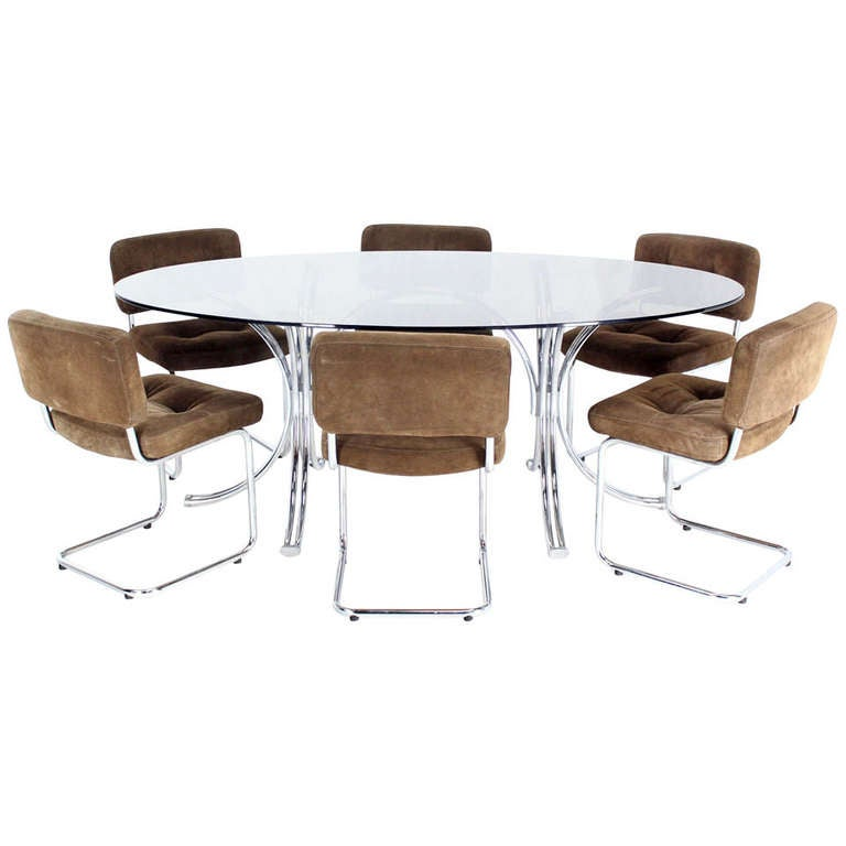 Roche bobois mid century modern oval glass dining table for Dining room table with 6 chairs