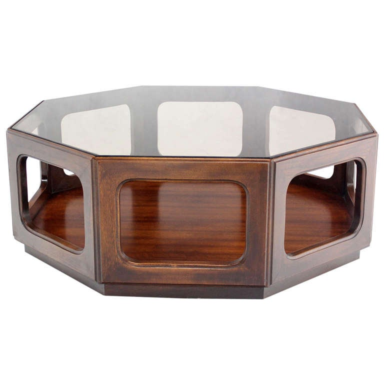 Mid century modern hexagon walnut base smoked glass top for Hexagon coffee table glass