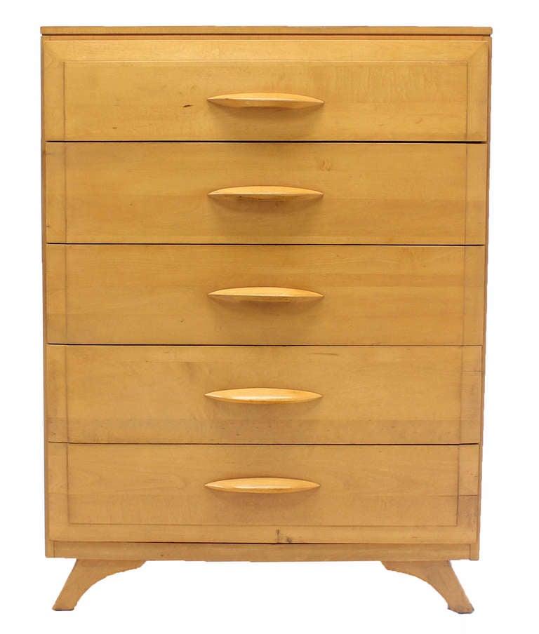 Mid Century Modern Blonde Maple High Chest Or Dresser At