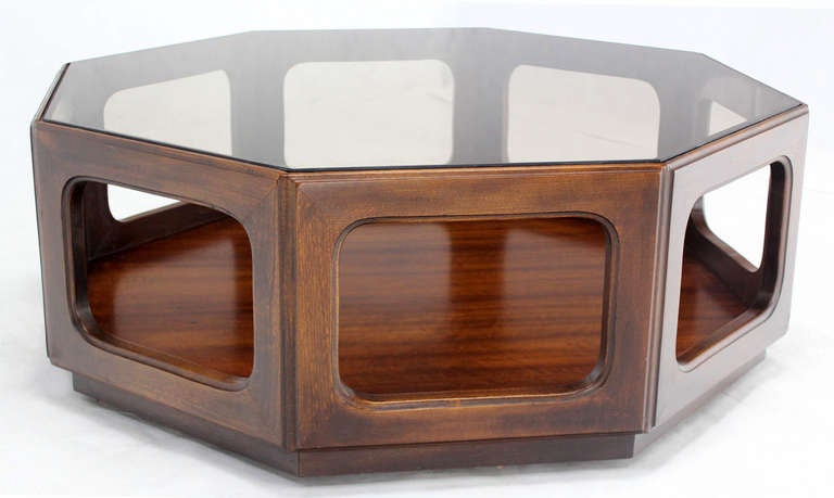 Mid Century Modern Hexagon Walnut Base Smoked Glass Top