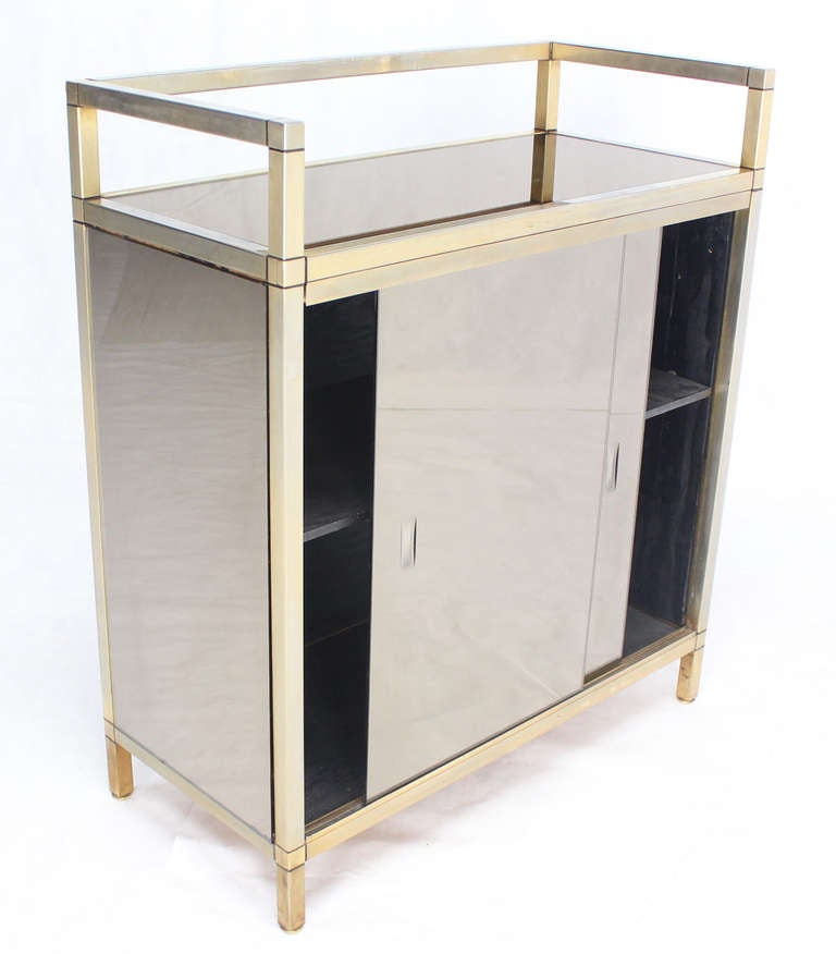 Mid century smoked glass server cabinet with sliding doors for Best mid priced kitchen cabinets