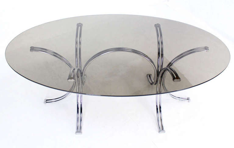 Roche Bobois Mid Century Modern Oval Glass Dining Table