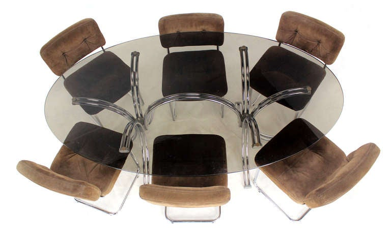 Roche Bobois Mid Century Modern Oval Glass Dining Table With Six Chairs 2