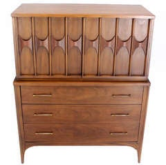Mid-Century Danish Modern High Chest Dresser in Walnut and Rosewood