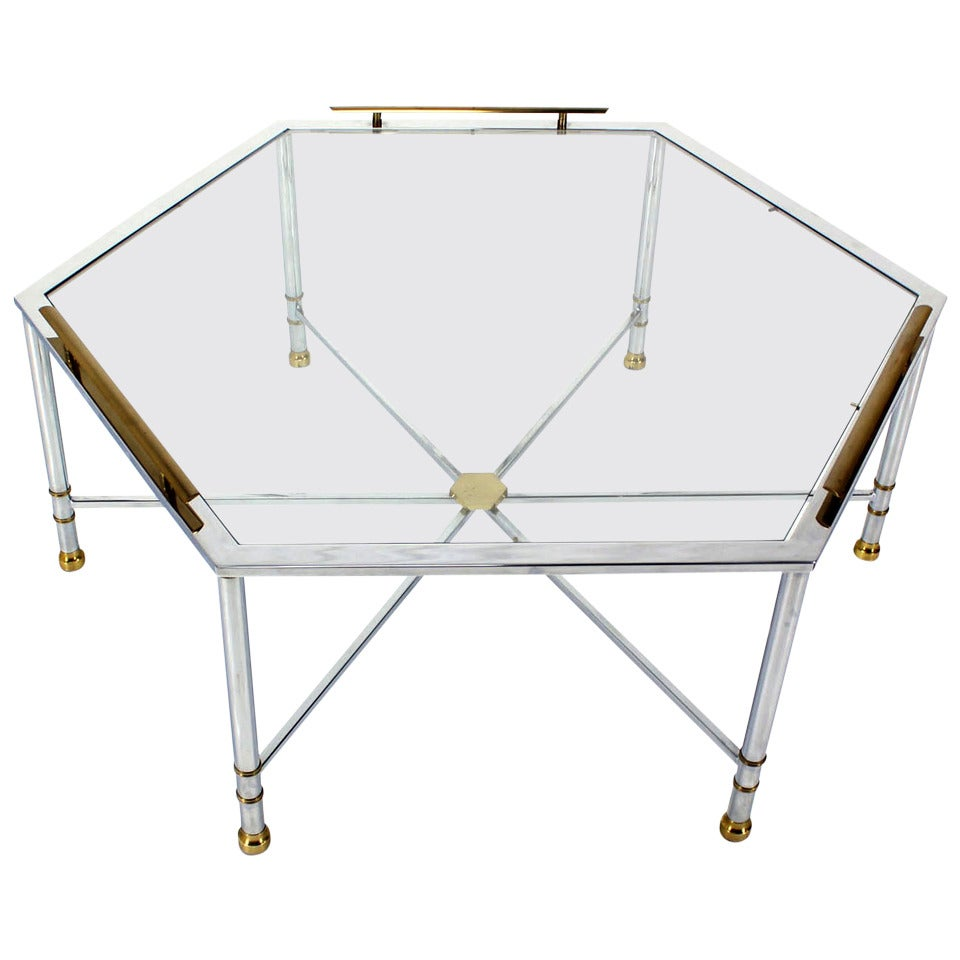 Chrome brass glass hexagon coffee table maison jansen for for Hexagon coffee table glass