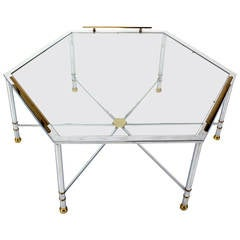 Chrome Brass Glass Hexagon Coffee Table Maison Jansen