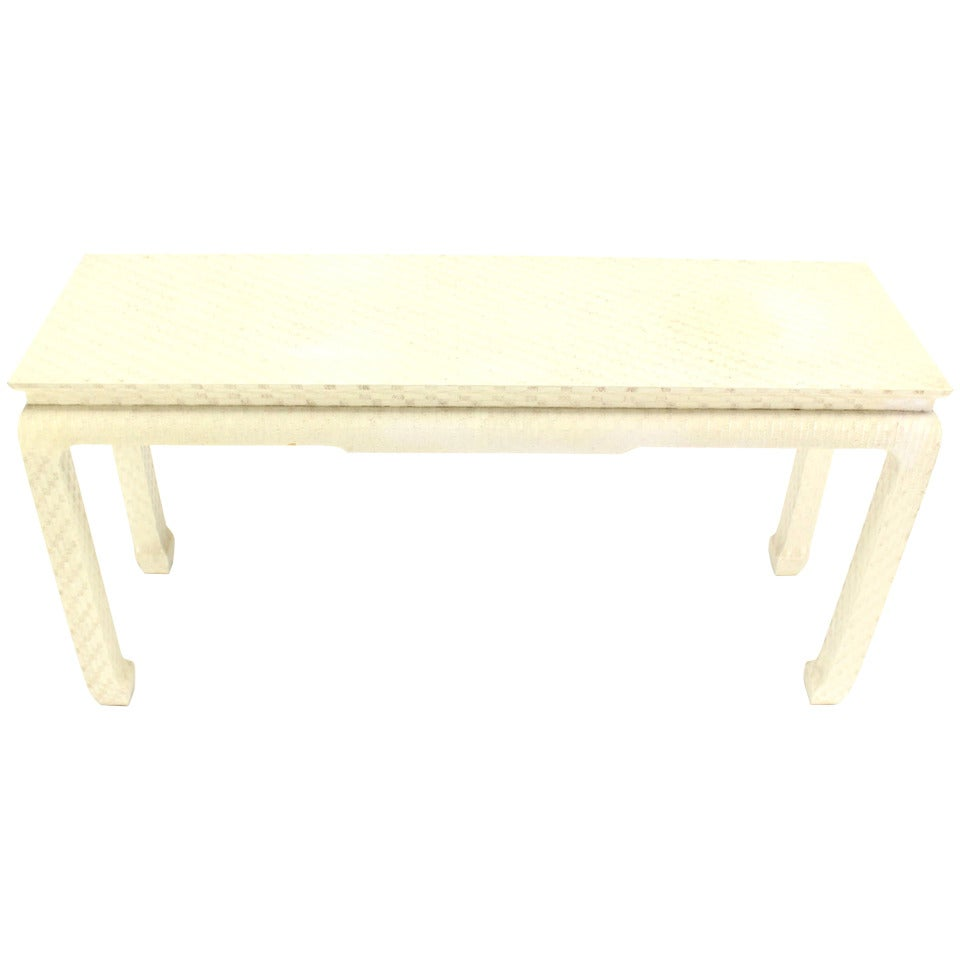 Grasscloth Coffee Table Grass Cloth Covered Mid Century Modern Console Table At 1stdibs
