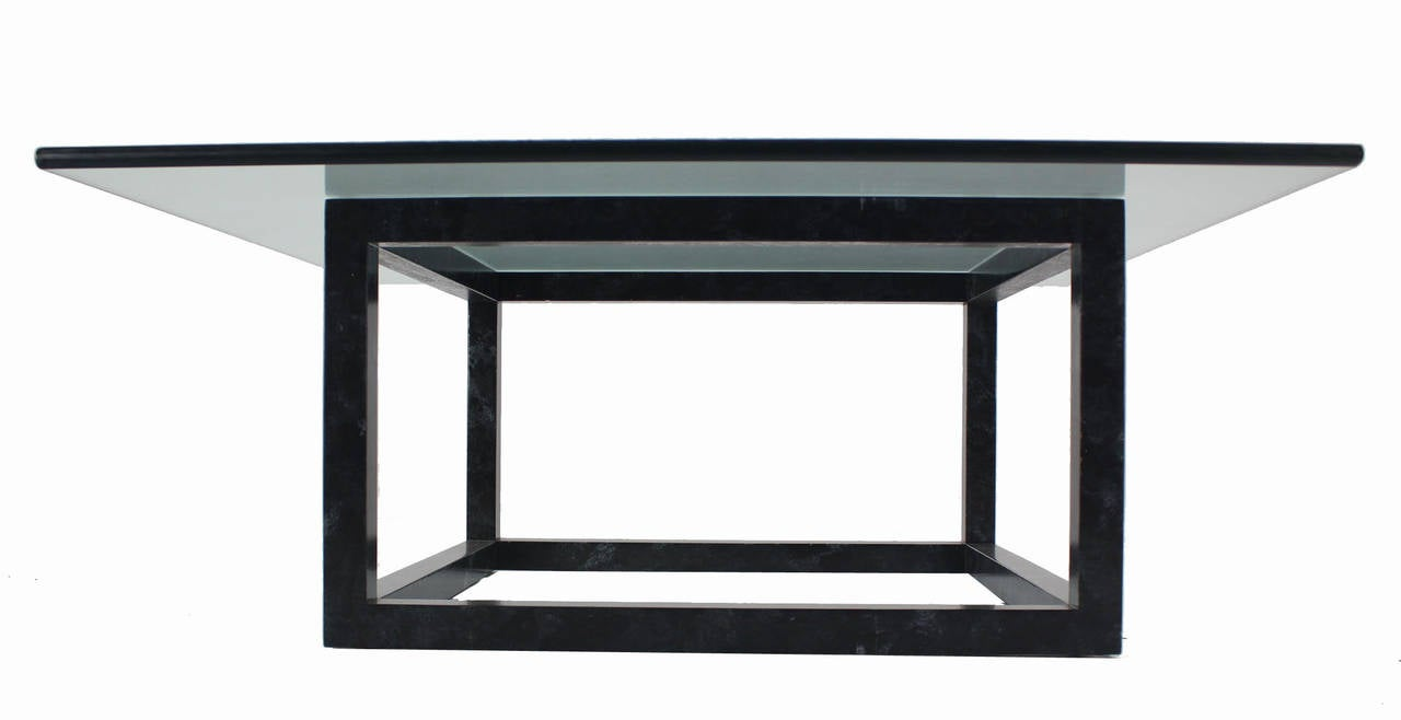 Large Mid Century Modern Thick Glass Top Table Cube Shape Base For Sale At 1stdibs