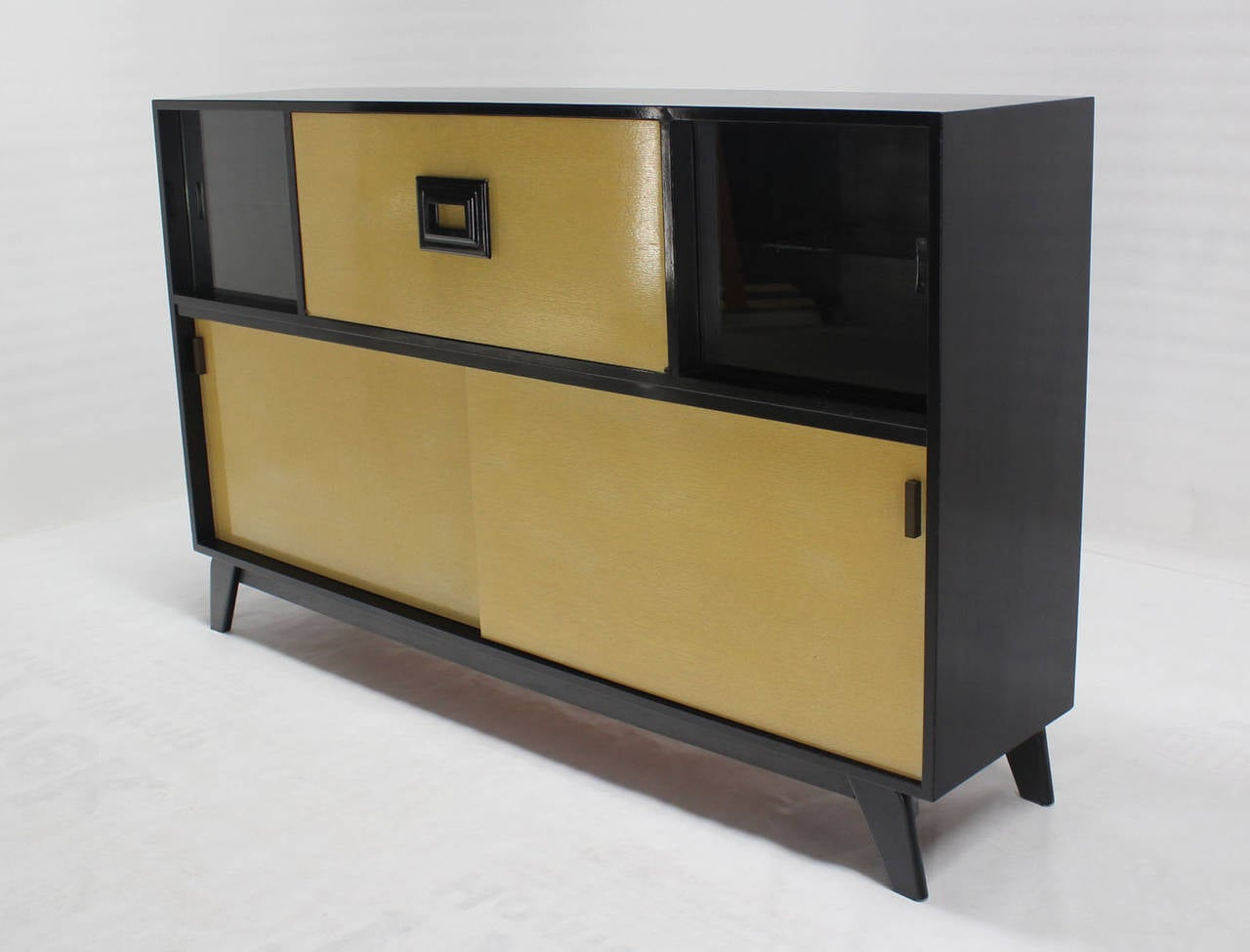 Mid Century Modern Light Wood Sliding-Top Dry Bar Sideboard For ...