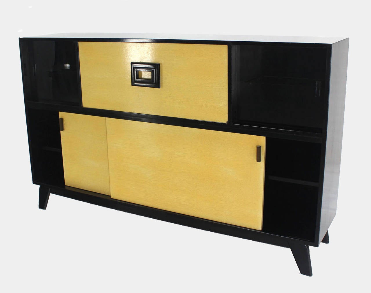 Lacquered Mid Century Modern Credenza Black Lacquer Gredenza Bar Liquor Cabinet For Sale