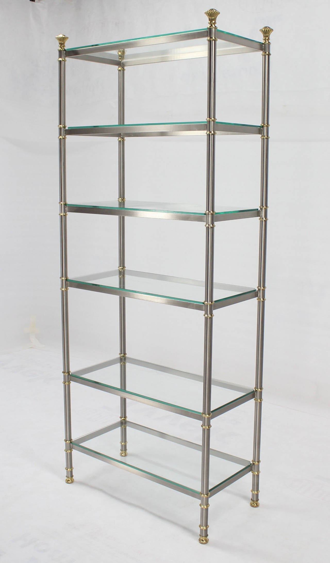 mid century modern mixed metals brass chrome glass etagere at 1stdibs. Black Bedroom Furniture Sets. Home Design Ideas