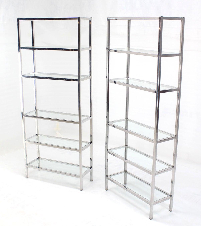 pair of chrome mid century modern etageres shelves at 1stdibs. Black Bedroom Furniture Sets. Home Design Ideas