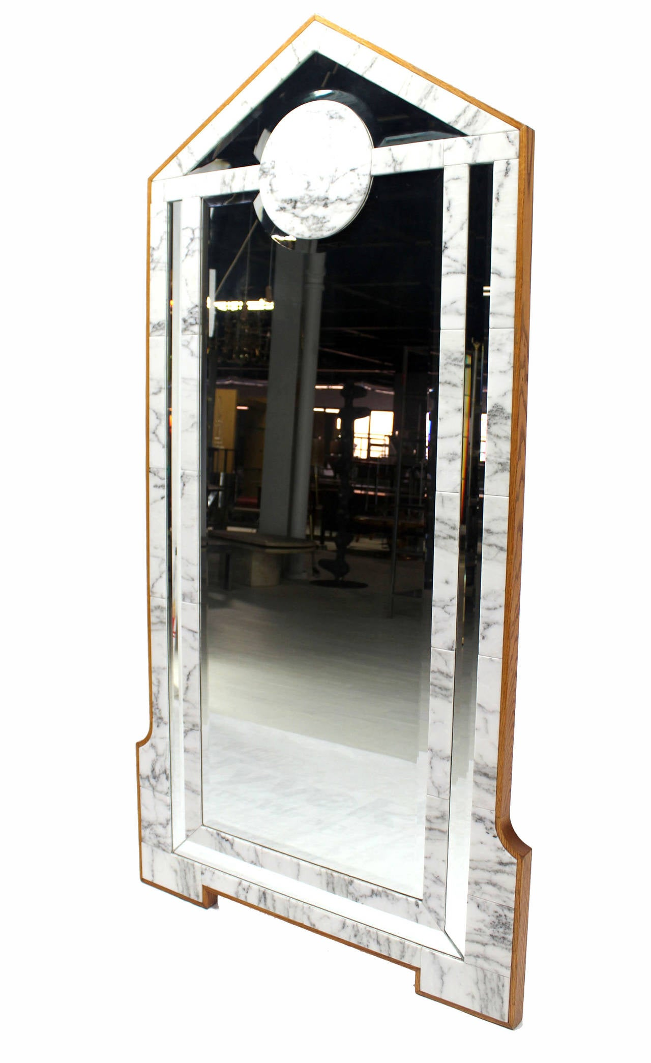 Large mid century modern marble and wood frame floor for Standing mirror frame