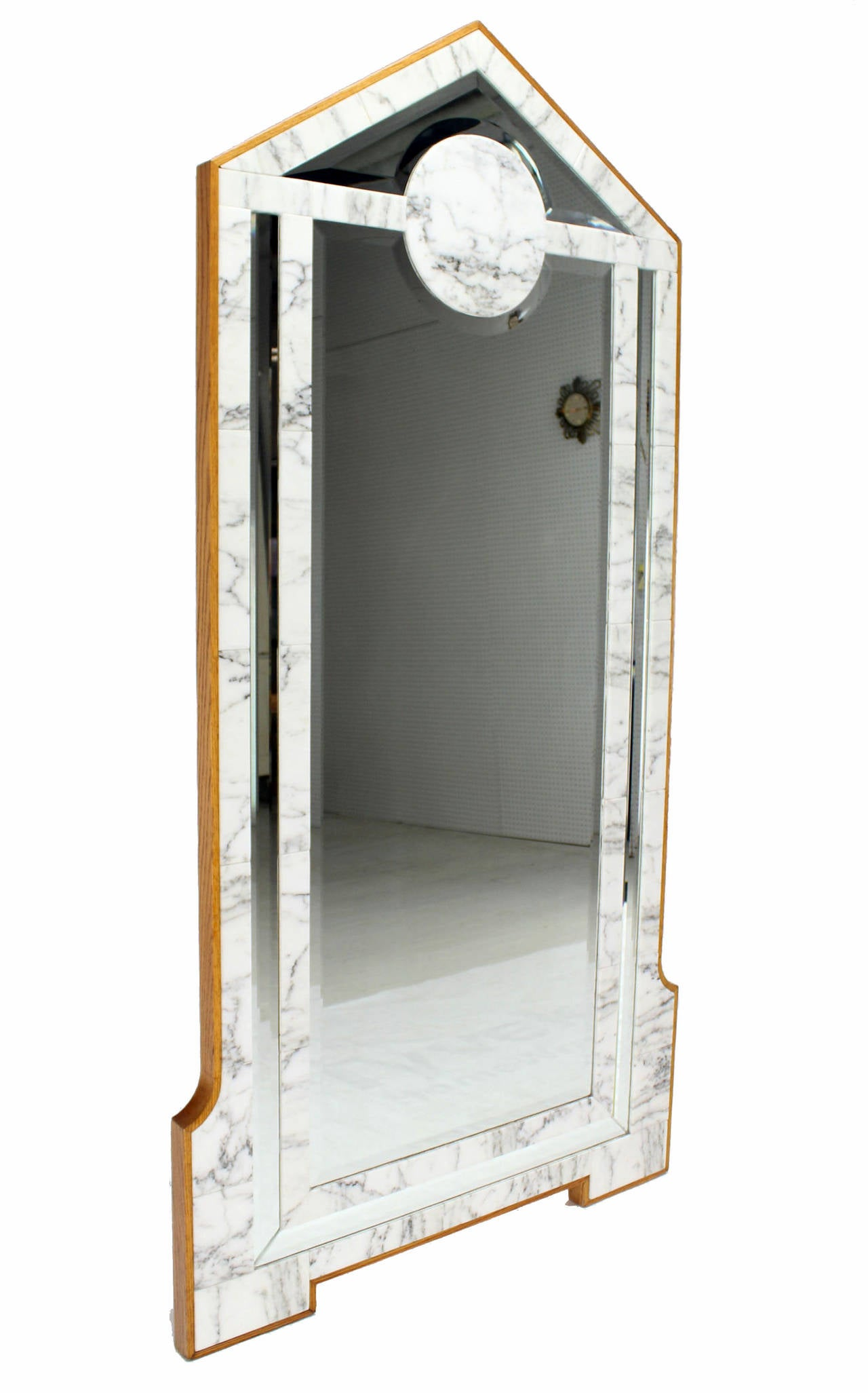 Large mid century modern marble and wood frame floor for Wood floor length mirror