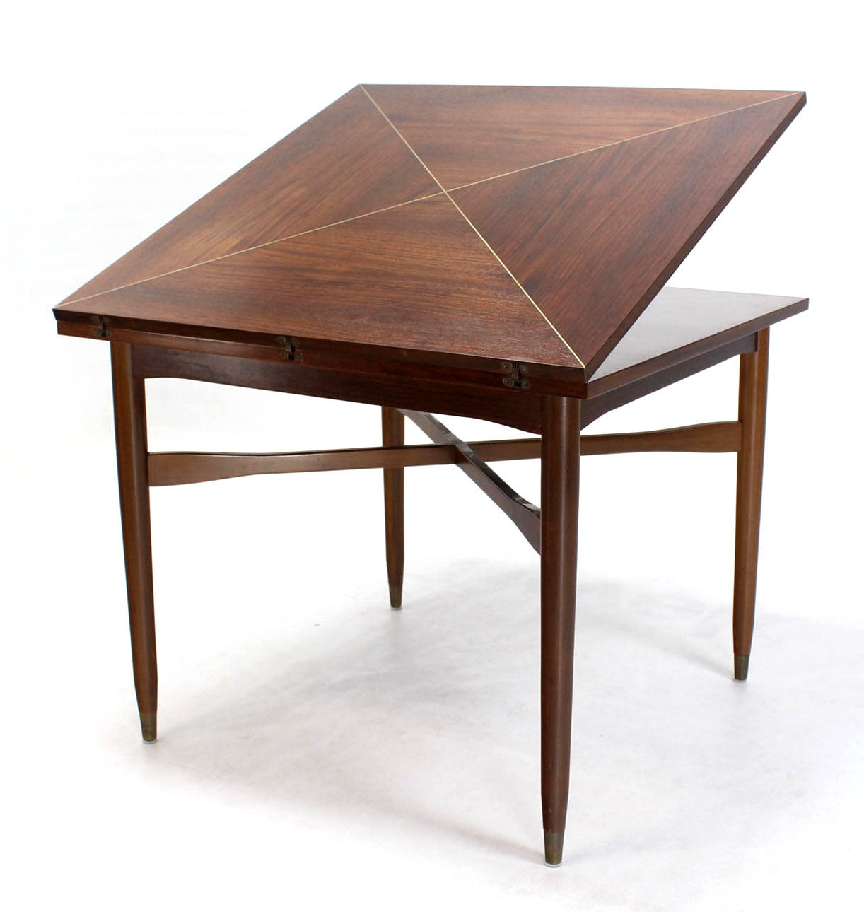 Walnut top with brass inlay mid century modern expandable for Dining room game table