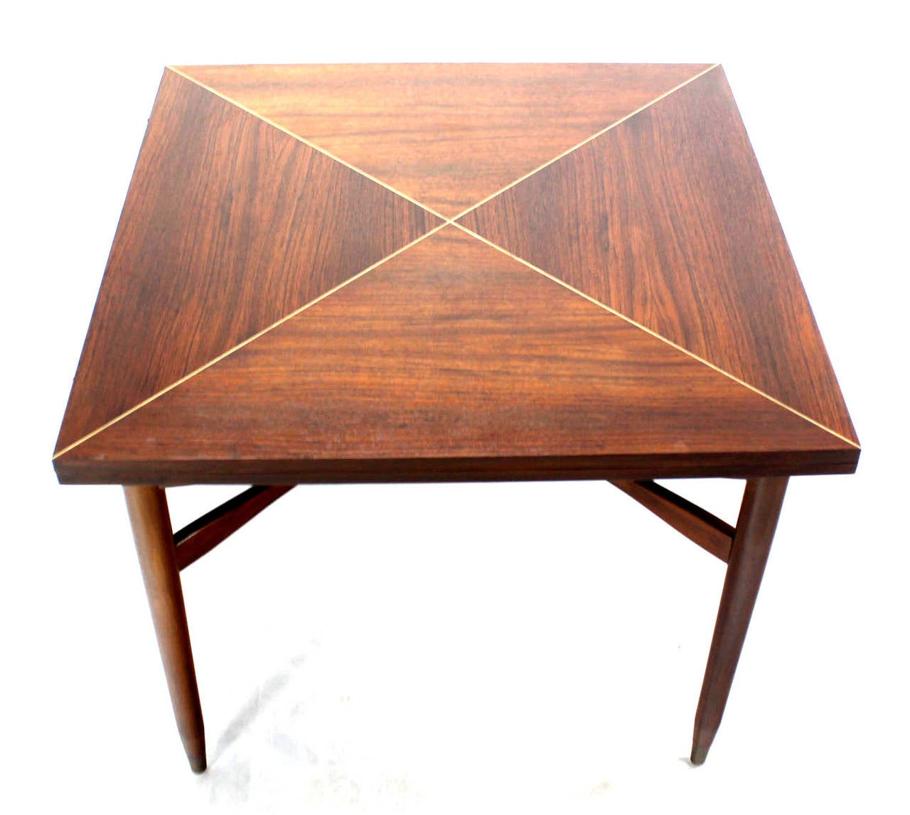 20th Century Walnut-Top with Brass Inlay, Mid-Century Modern Expandable Game Table
