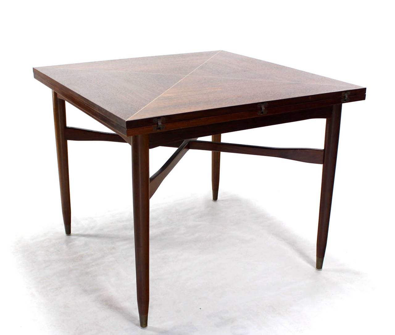 Walnut-Top with Brass Inlay, Mid-Century Modern Expandable Game Table 5