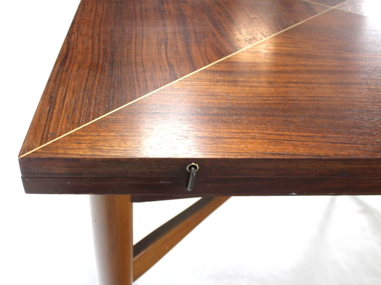 Walnut-Top with Brass Inlay, Mid-Century Modern Expandable Game Table 2