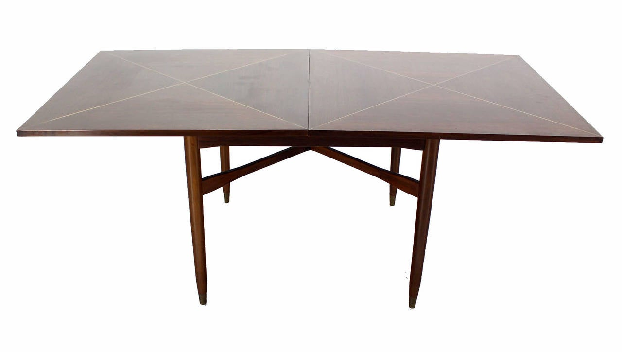 Walnut-Top with Brass Inlay, Mid-Century Modern Expandable Game Table 3