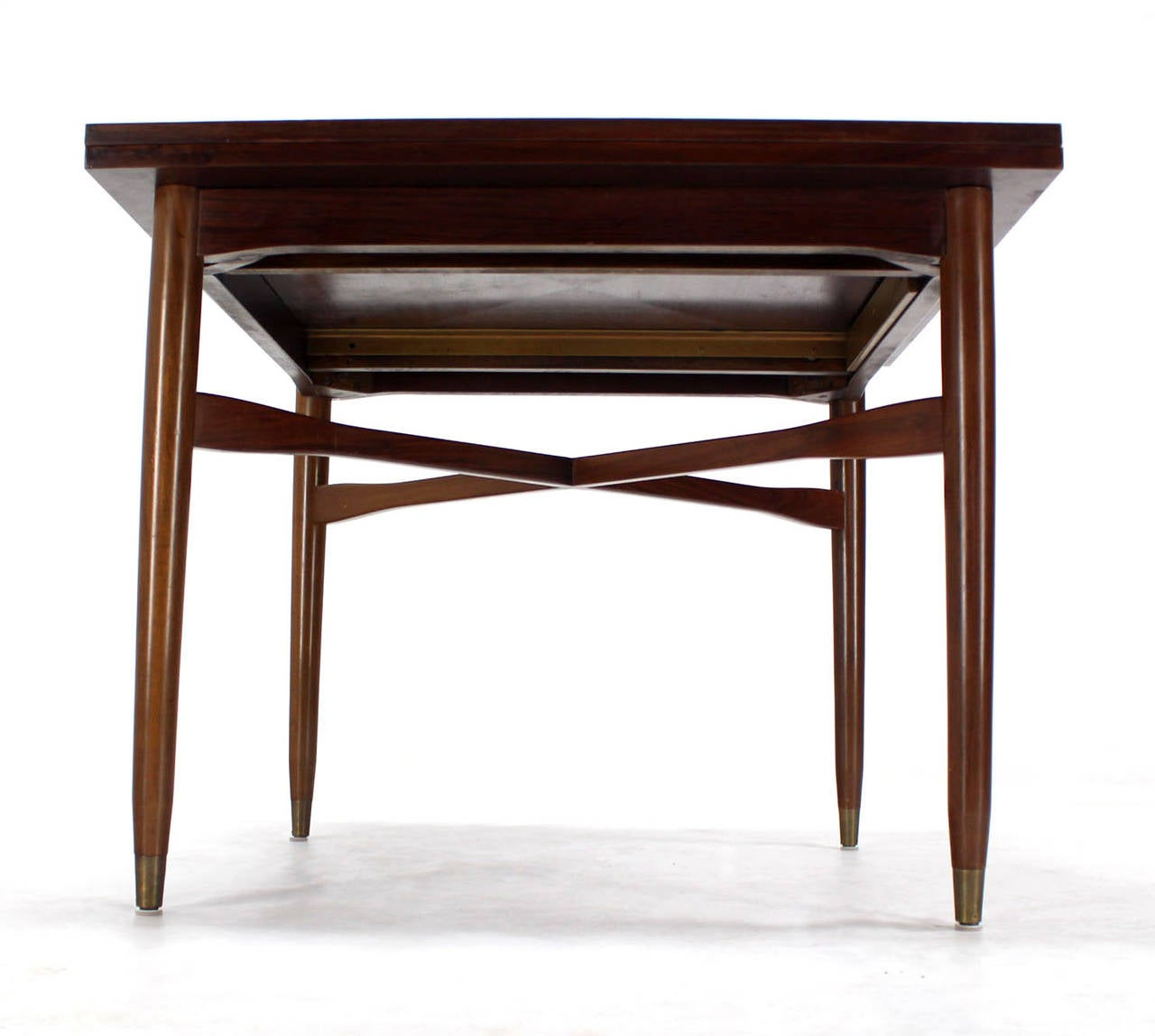 Walnut-Top with Brass Inlay, Mid-Century Modern Expandable Game Table 1