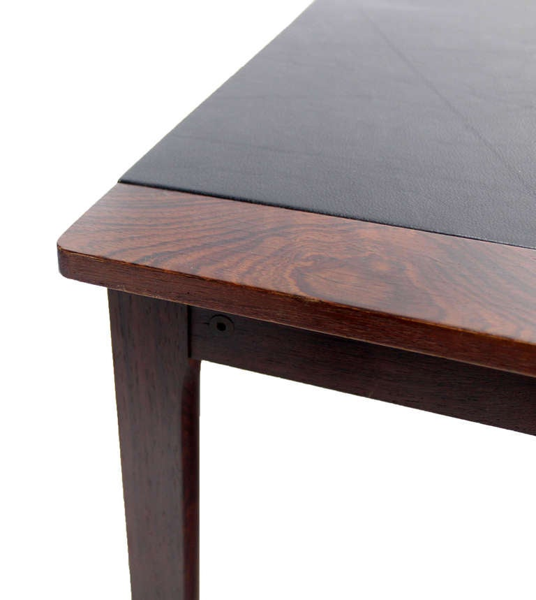 Charles Modern 47 Square Glass Top Coffee Table W: Danish Mid-Century Modern Leather-Top, Rosewood Coffee