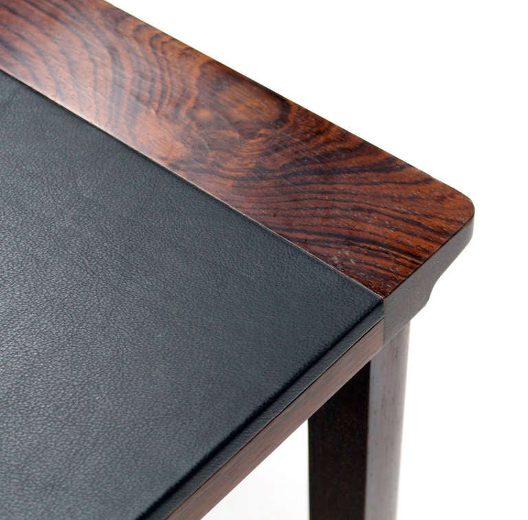 Danish Mid Century Modern Leather Top Rosewood Coffee Table At 1stdibs