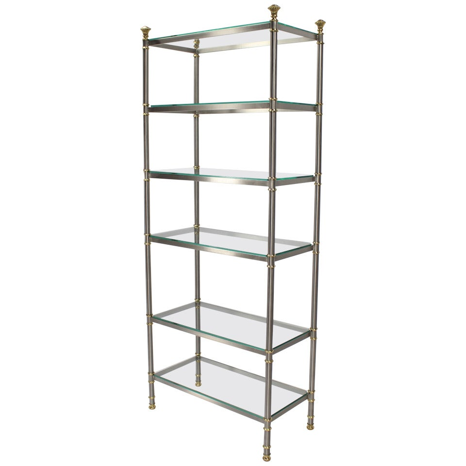 Mid Century Modern Mixed Metals Brass Chrome Glass Etagere