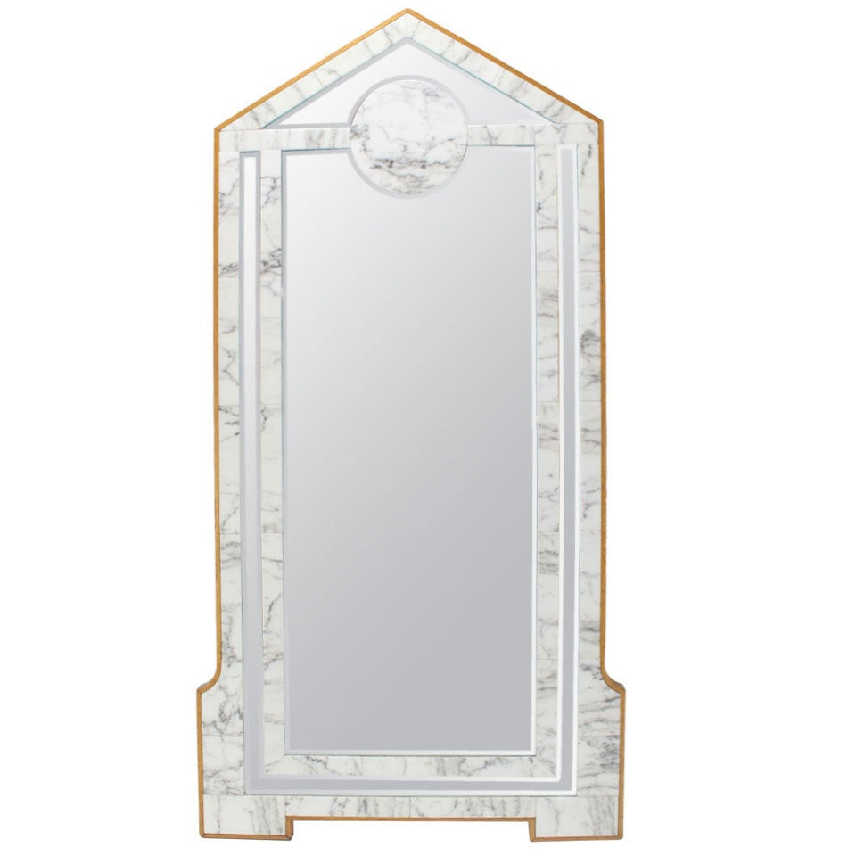 Large mid century modern marble and wood frame floor for Full length mirror with mirror frame